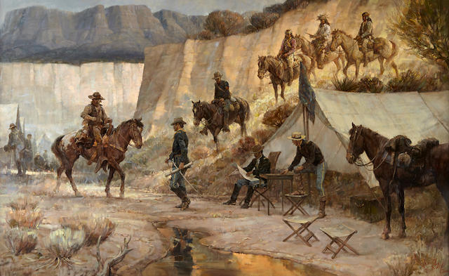 Kenneth Riley (1919-2015) Returning Scout 32 x 52in (Painted in 1979.)