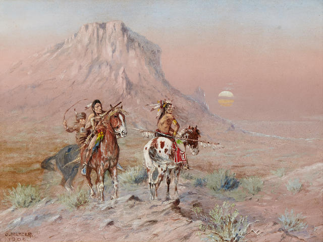 Olaf Carl Seltzer (1877-1957) Indian Scouts 13 3/4 x 18in (Painted in 1906.)