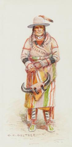 Olaf Carl Seltzer (1877-1957) Medicine Man (Navajo) sight, 7 1/2 x 4 1/2in