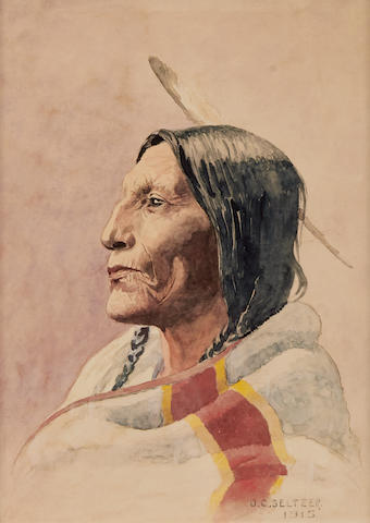 Olaf Carl Seltzer (1877-1957) Portrait of an Indian 13 x 10in (Executed in 1915.)