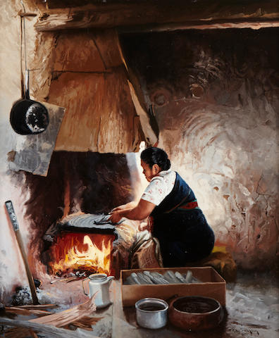 Ray Swanson (1937-2004) Hopi Piki Bread 14 x 12in (Painted in 1983.)
