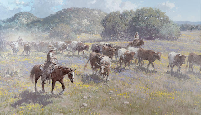 Melvin Warren (1920-1995) The Chisholm Trail 36 x 60in (Painted in 1986.)
