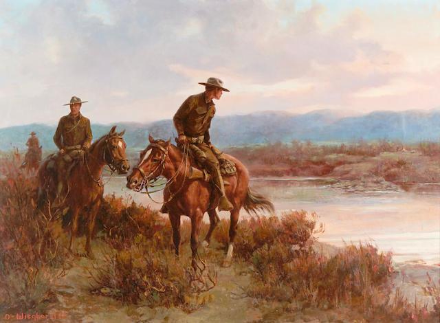 Olaf Carl Wieghorst (1899-1988) Border Patrol 28 x 38in (Painted in 1950.)