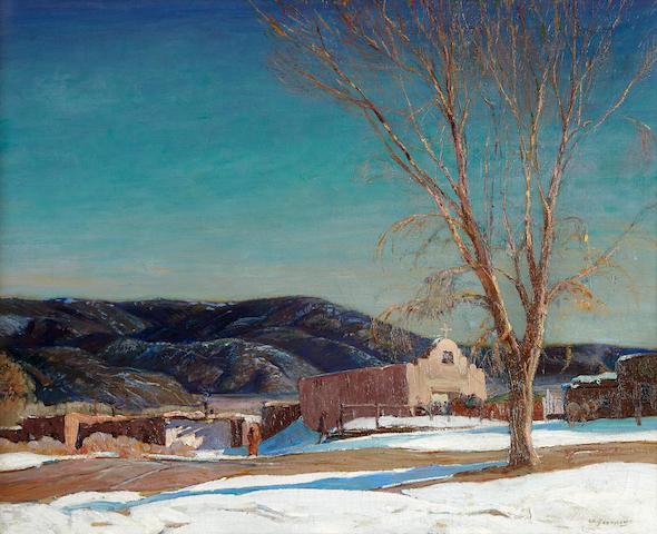 Oscar Edmund Berninghaus (1874-1952) San Antonio Chapel, Taos 25 x 30in (Painted circa 1924.)