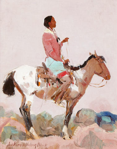 Laverne Nelson Black (1887-1938) Taos Scout 11 x 9in