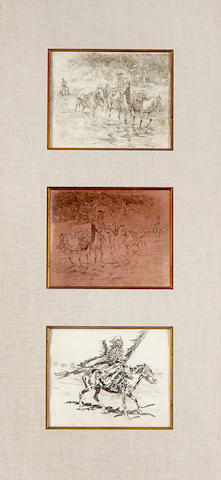 Edward Borein (1872-1945) Fording Stream and His War Cry: A Double-Sided Copper Etching Plate and Two Etchings each, 7 x 8 1/2in