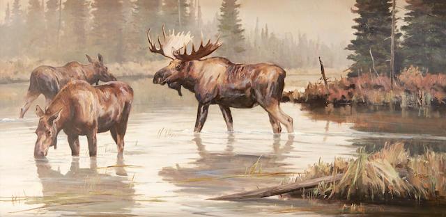 Ken Carlson (born 1937) Wilderness Water Moose 24 x 48in