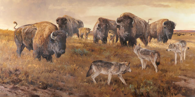 Ken Carlson (born 1937) Prairie Showdown 42 x 84in (Painted in 1999.)