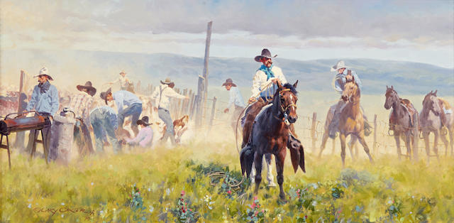 Gary Carter (born 1939) Spring Works 12 x 24in (Painted in 1994.)