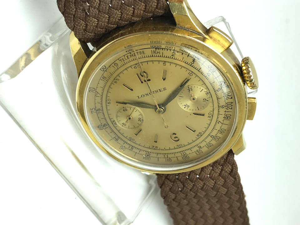 Longines. An 18K gold manual wind flyback chronograph wristwatch with 13ZN movement Circa 1941
