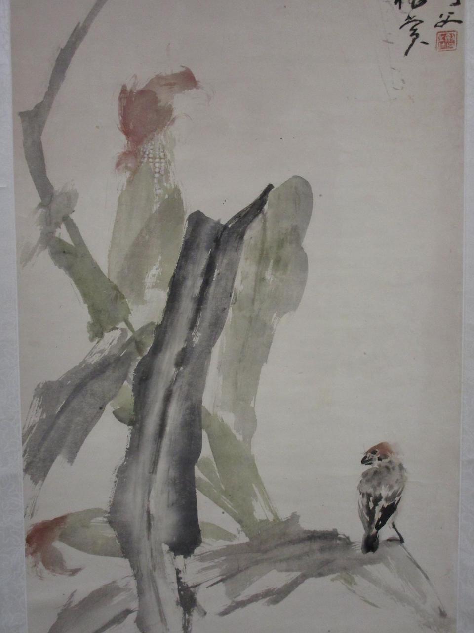 Gao Jianfu (1879-1951) Sparrow on Maize Stalk, 1940
