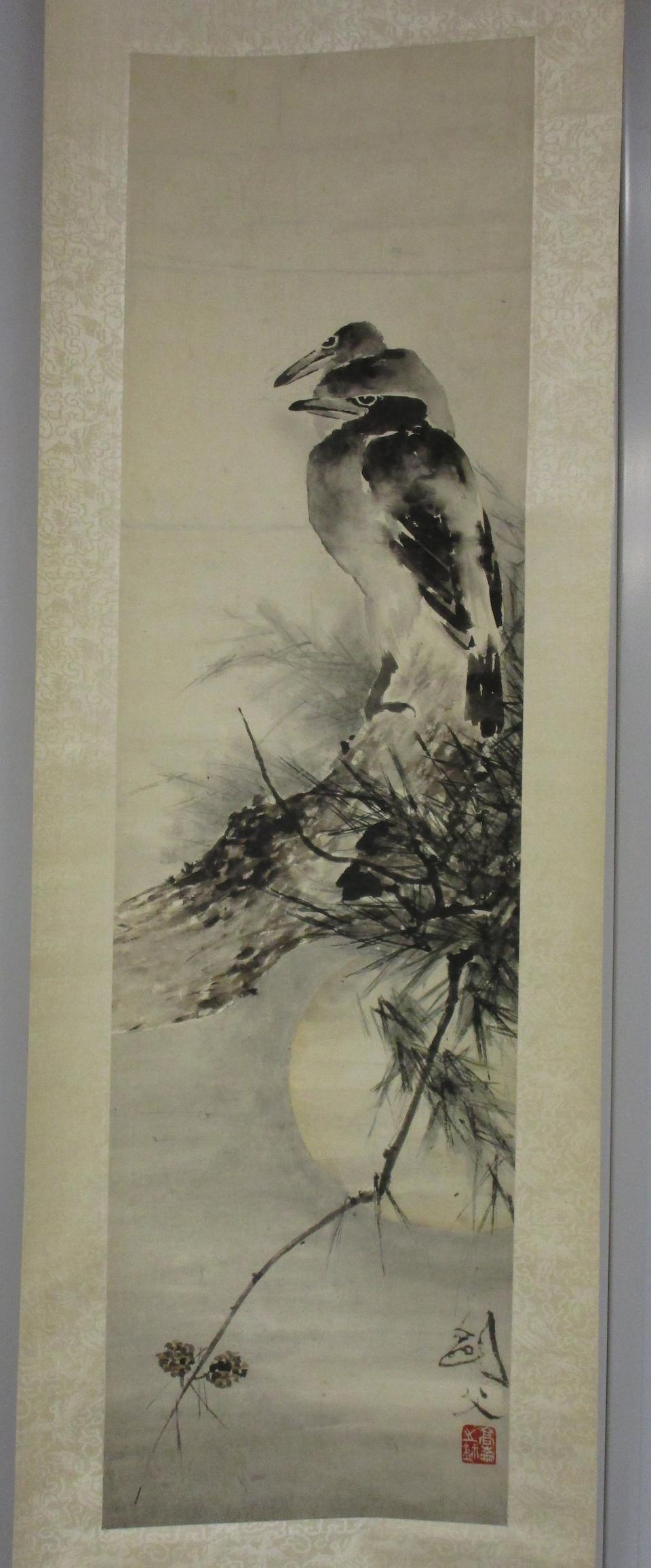 Gao Jianfu (1879-1950)  Crows in Moonlight