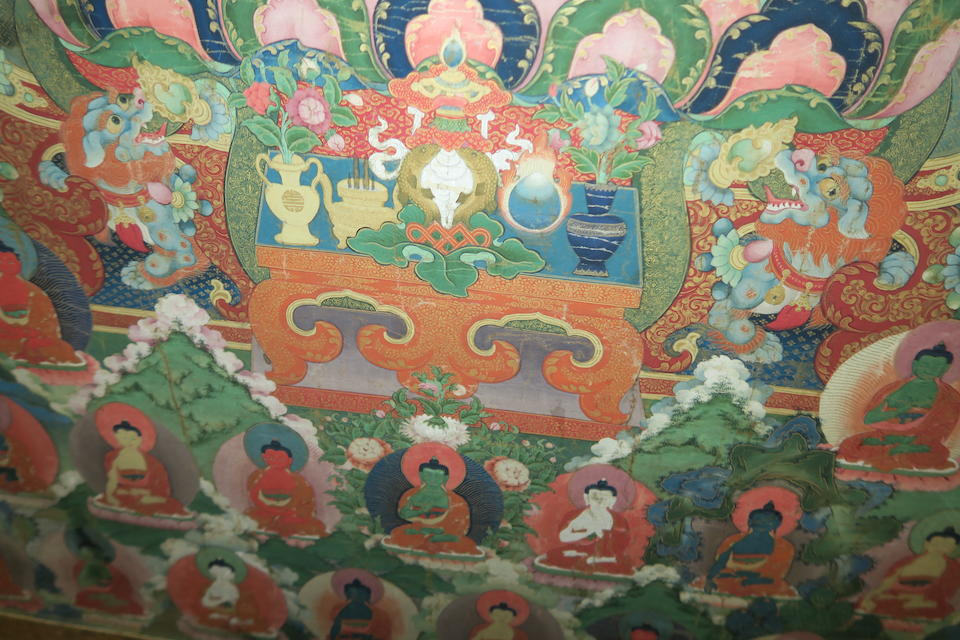 A Sino-Tibetan Thangka of the Sakyamuni Buddha Turning the Wheel of the Law 17th/18th century