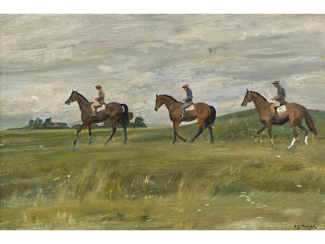 Sir Alfred James Munnings, P.R.A., R.W.S. (British, 1878-1959) Passing the barrow 16 1/4 x 24in (41.6 x 61cm)