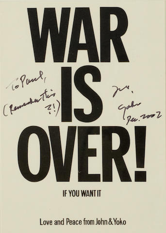 "ONO, YOKO. B.1933. Postcard Signed (""Yoko"") and Inscribed, 150 x 100 mm, n.p., December 2002,"