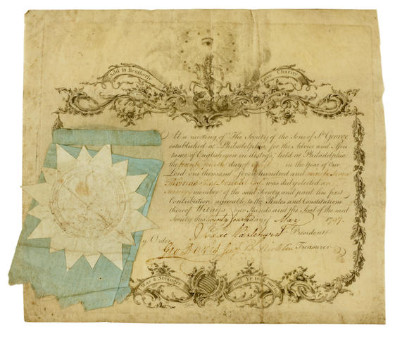 "Society of the Sons of St. George certificate, 1797. HAZLEHURST, ISAAC. 1742-1834, and others. Engraved Document Signed (""Isaac Hazlehurst,"" ""Geo Davis"" and ""Ph. Nicklin""), partially printed on vellum, confirming the election of Thomas MacDonald to the Society, 1 p, 4to (230 x 260 mm), Philadelphia, April 24, 1797,"