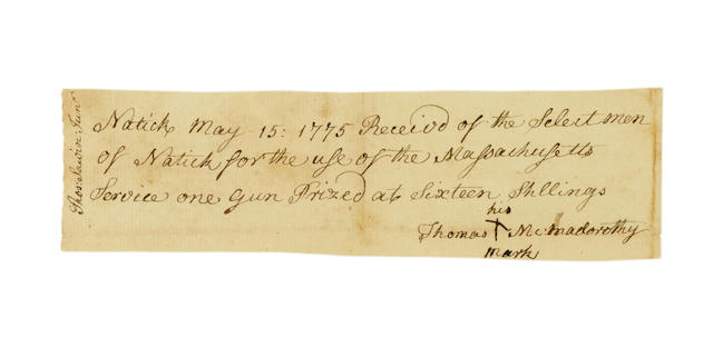 """AFRICAN AMERICAN SOLDIER IN THE REVOLUTIONARY WAR. [DORITY], THOMAS MACMADOROTHY. Manuscript Receipt Signed (""""Thomas + McMadorothy/His Mark""""), being a receipt for a gun """"for the use of the Massachusetts Service,"""""""