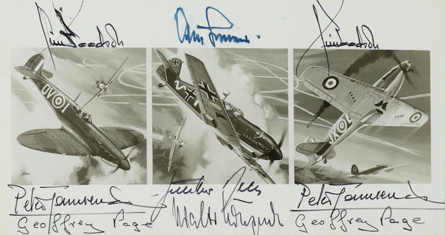 """WORLD WAR II FIGHTER PILOTS. Photo Signed (""""Peter Townsend,"""" """"Walter Krupinski,"""" """"Adolf Gallond,"""" """"James Goodson,"""" Guenther rall,"""" and  """"Geoffrey Page""""),"""