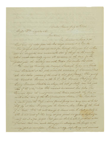 """MEXICAN WAR COMES TO CALIFORNIA. MELLUS, HENRY. Autograph Letter Signed (""""Henry Mellus for George R. Gliddon""""),"""
