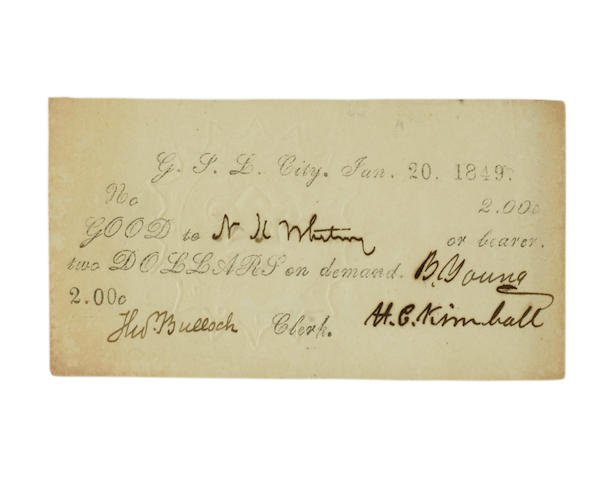 """MORMON CURRENCY. Printed Document Signed (""""B. Young""""), being a $2 note,"""