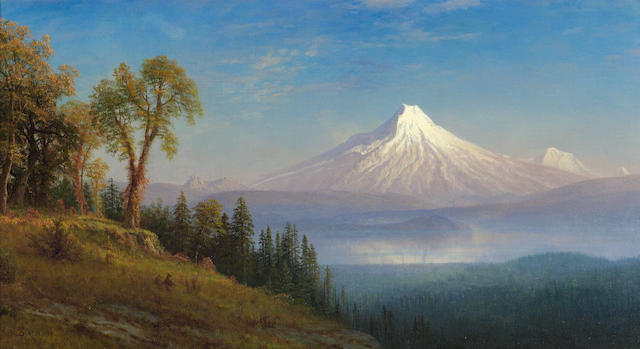 Albert Bierstadt (1830-1902) Mount St. Helens, Columbia River, Oregon 18 x 32 1/2in (Painted in 1889.)