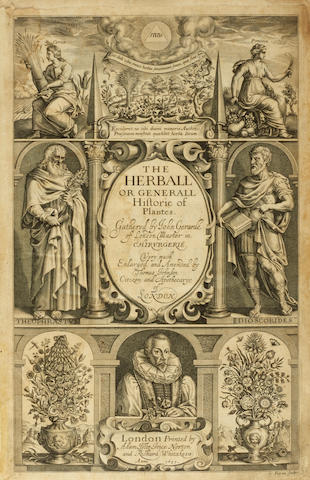 GERARD, JOHN. 1545-1612. The Herball or Generall Histories of Plantes ... Very Much Enlarged and Amended by Thomas Johnson. London: Adam Islip, Joice Norton and Richard Whitakers, 1633.