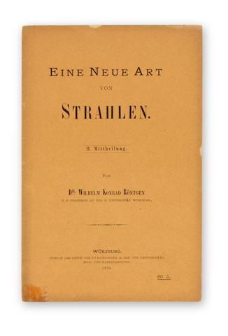 """RÖNTGEN, WILHELM CONRAD. 1845-1923.  """"Ueber eine neue Art von Strahlen. (Vorläufige   Mittheilung)."""" WITH: """"Eine neue Art von Strahlen. II. Mittheilung."""" Offprints from: Sitzungsberichten der Würzburger Physik-medic. Gesellschaft, no 9, 132-41 & nos 1-2, 11-19. Würzburg: Stahl, 1895; 1896."""
