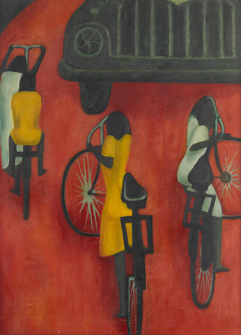 Demas Nwoko (Nigerian, born 1935) Children on Cycles