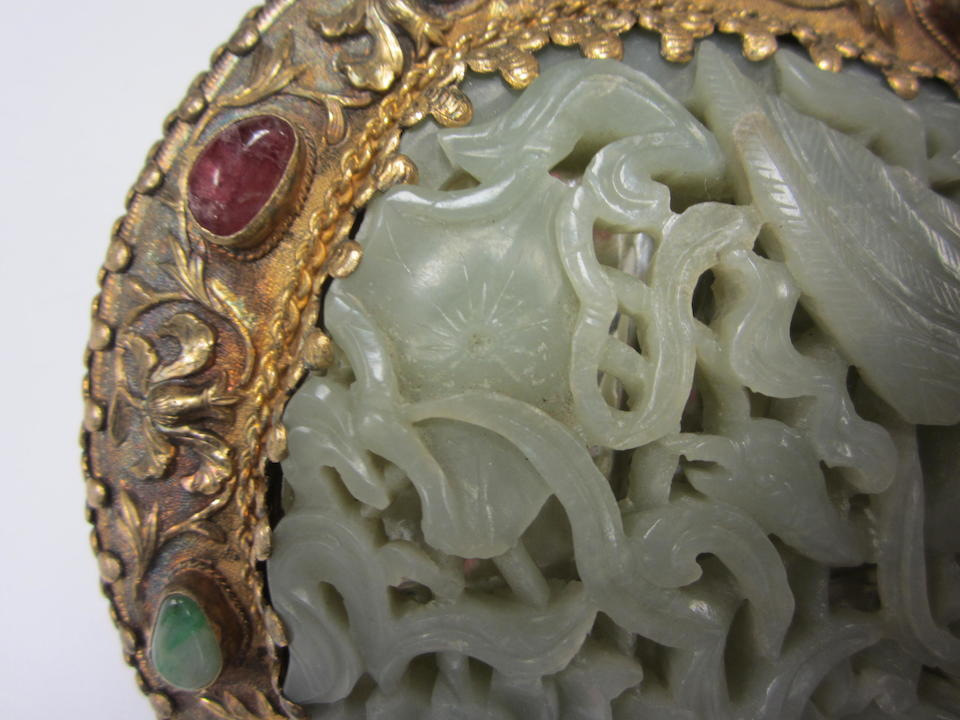 A jade-mounted silver hand mirror The plaque Ming dynasty