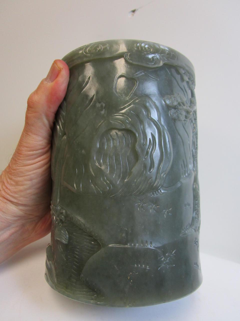 A gray-green jade cylindrical brush pot Republic period