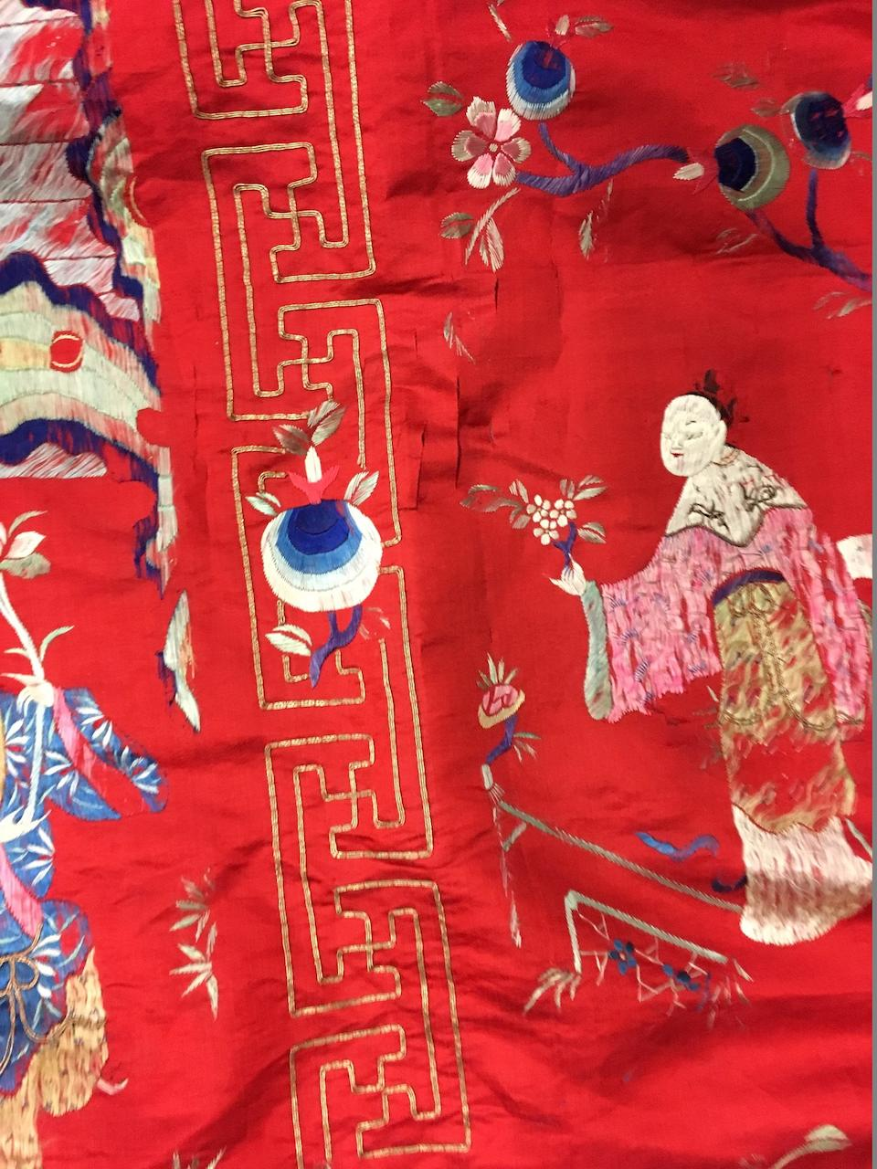A massive embroidered red satin hanging with Daoist figures Late Qing/Republic period