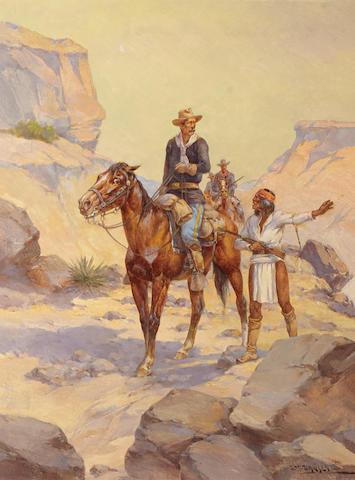Herman Wendelborg Hansen (1854-1924) Rio Grande Patrol 24 x 18in