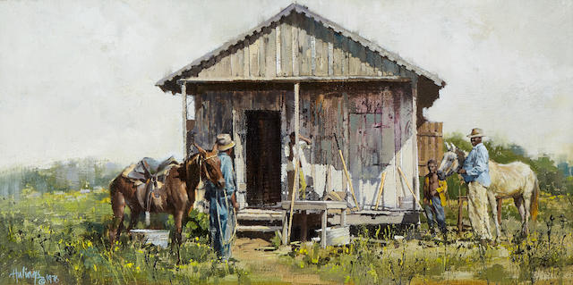 Clark Hulings (1922-2011) Mississippi Cabin 10 x 20in (Painted in 1976.)