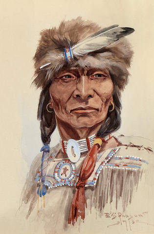 Edgar S. Paxson (1885-1982) Cree from the North 11 x 7 3/4in (Executed in 1913.)