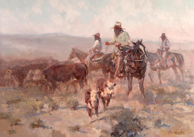 James Elwood Reynolds (1926-2010) Fightin' the Dust 34 x 48in
