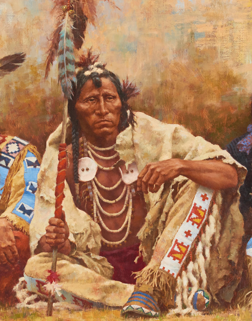 Howard Terpning (born 1927) Blackfeet Spectators 32 x 56in (Painted in 1984.)