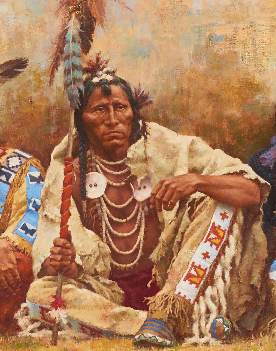 Howard Terpning (born 1927) Blackfeet Spectators 32 x 56in (Painted in 1984.)
