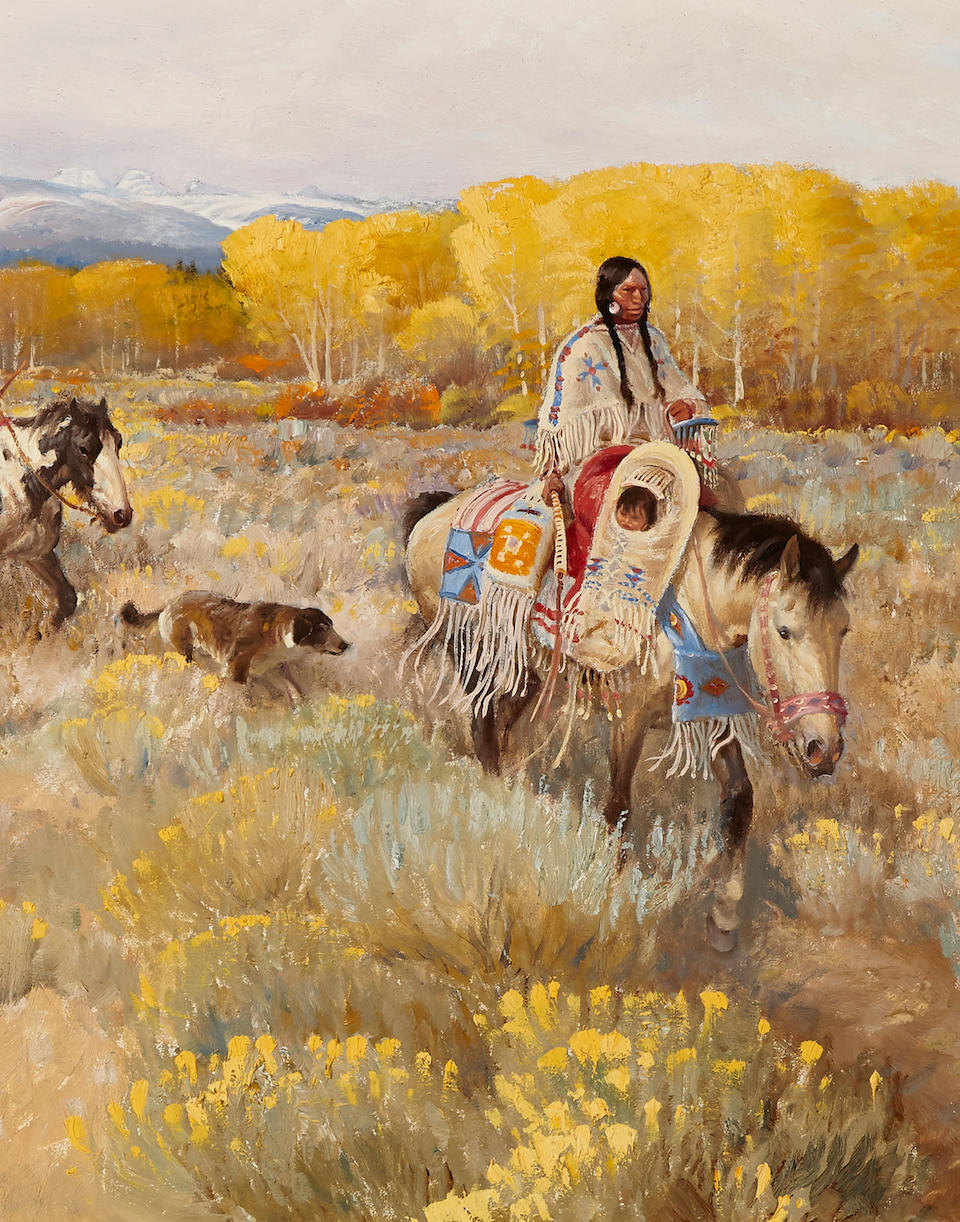 John Ford Clymer (1907-1989) Aspen Trail 15 x 30in (Painted in 1976.)