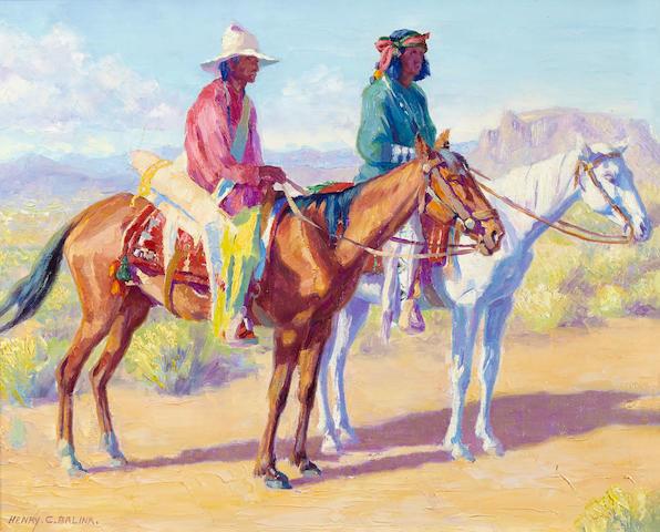 Henry Cornelius Balink (1882-1963) Apaches on Horseback 16 x 20in