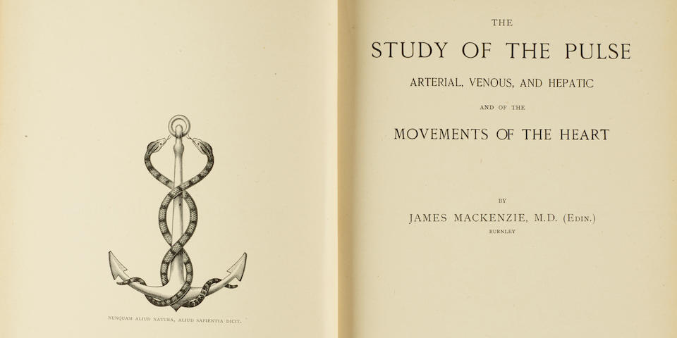 MACKENZIE, JAMES. 1853-1925. The Study of the Pulse: Arterial, Venous, and Hepatic and of the Movements of the Heart. Edinburgh: Young J. Pentland, 1902.