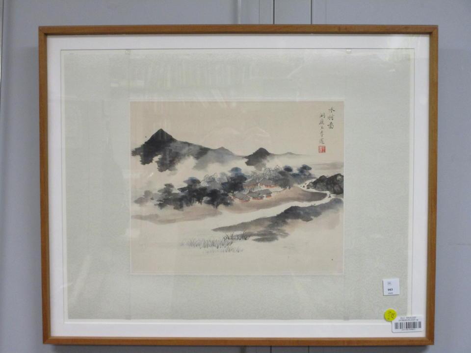 Wang Jiqian (1907-2003)  Village by the River