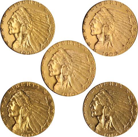 1908, 1909, 1910, 1911, 1912 $2.5