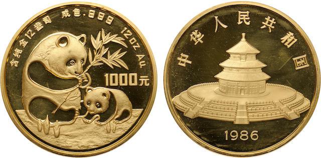 China, Gold 1000 Yuan (12 Ounces), 1986