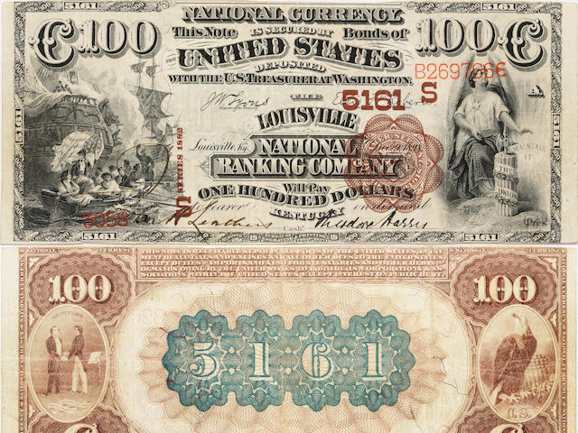 Fr. 530, Louisville, KY, 1882 $100 Brown Back, Louisville National Banking Co, Charter (S)5161
