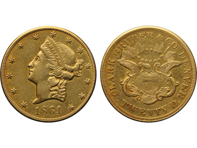 1861 Clark Gruber & Co. $20. AU50 PCGS
