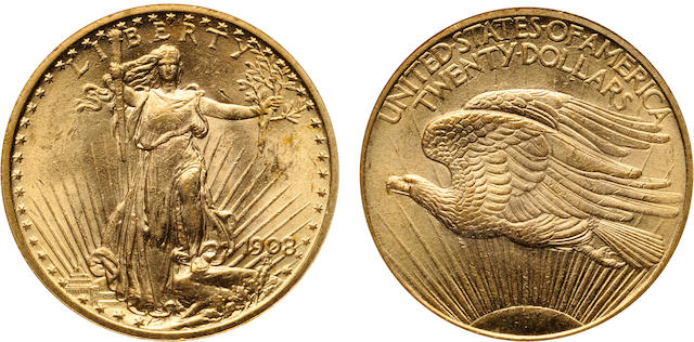 1908 No Motto $20 MS61 NGC