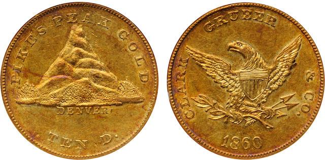 1860 Clark Gruber & Co. $10, MS60 NGC