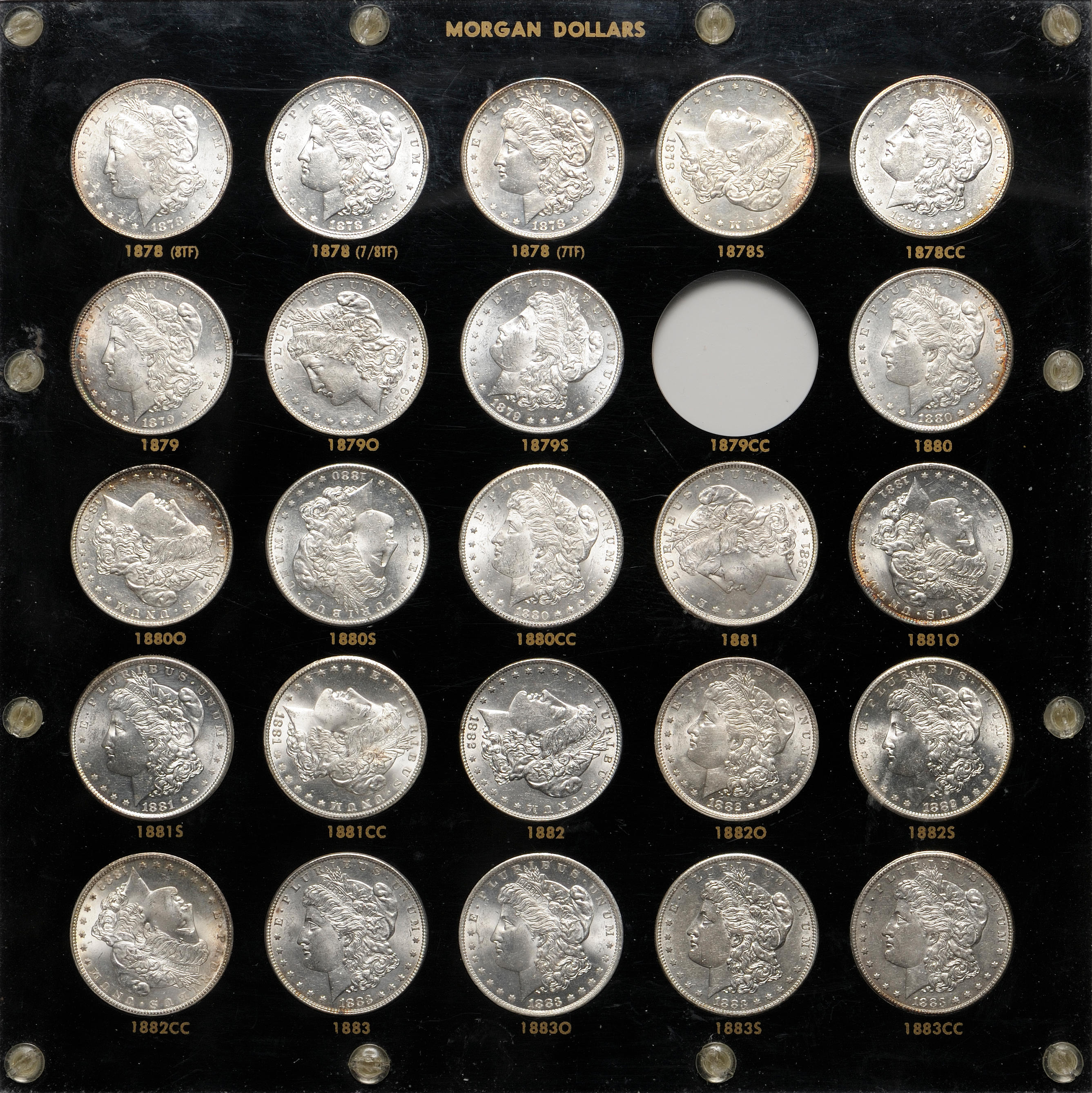 Capital Plastic Holder For US Peace Dollar 24 Coin Set 1921-1935 S Black Display
