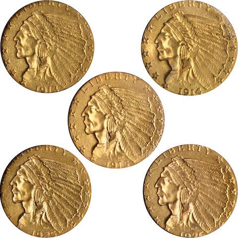 1913, 1914, 1915, 1925-D, 1926 Indian Head $2.5