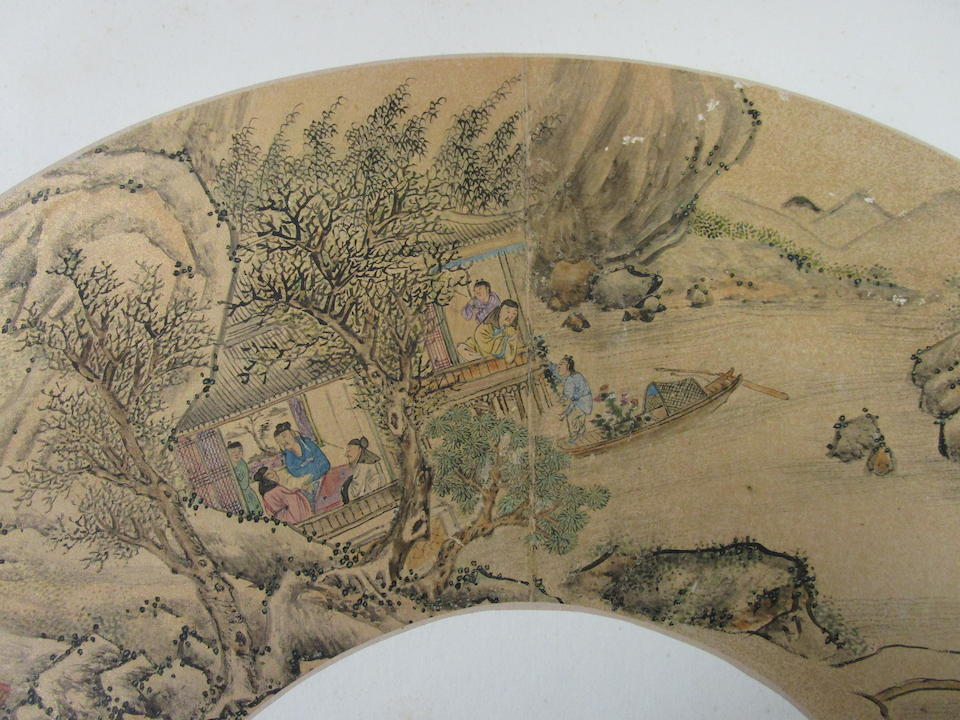 After Zhu Shiying (19th/20th century)  Two folding fan leaves of Figures in Landscape